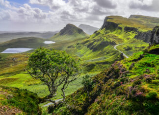 Scenic view of Quiraing mountains in Isle of Skye, Scottish Highlands photo via Depositphotos